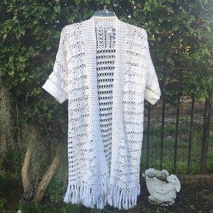 Chiccos long crochet open sweater